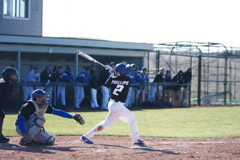 Senior infielder Cory Phillips connects with the ball during Tuesday's matchup against Hillsdale