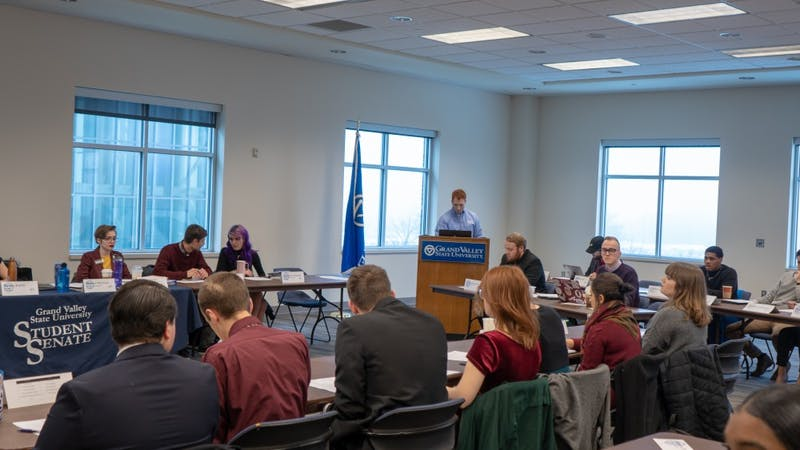 Student Senate. Student Senate Meeting. 4:30 p.m in Kirkhof, Pure Marquette Room. February 7th, 2019. Discussing ways in which to approve the conditions of GV Students in regards to the education system. GVL / Ben Hunt