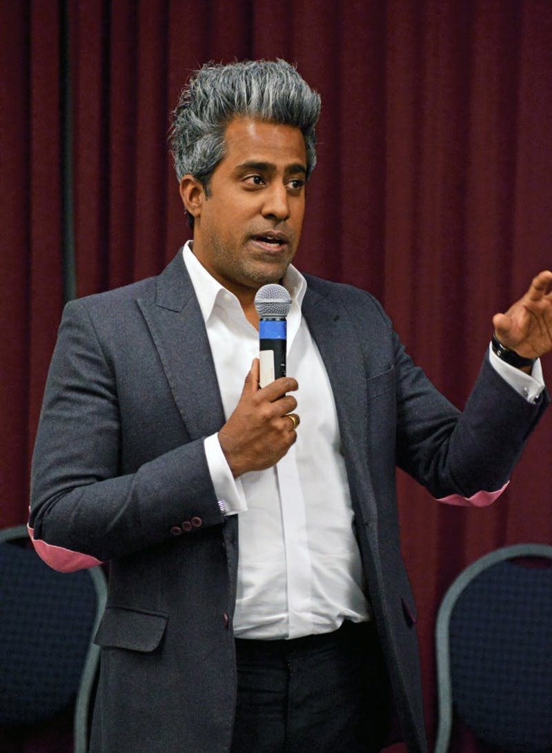 GVL / Hannah ZajacAnand Giridharadas, author of The True American, talks about his book to a group of students and faculty in Kirkoff Center, on Mar. 23, 2017
