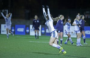 GVL / Emily Frye Marti Corby celebrates her second goal of the semi final game on Thursday Dec. 1, 2016.
