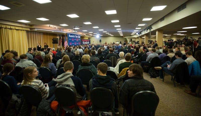GVL / Kevin Sielaff – Governor of Ohio and Republican presidential hopeful John Kasich speaks inside the Grand River Room in Kirkhof Monday, Feb. 15, 2016.