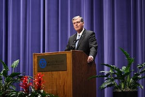Grand Valley State University President Thomas Haas announced his impending retirement Wednesday, Feb. 28, to an audience of GVSU administrators, faculty, staff and students. GVL / Sheila Babbitt