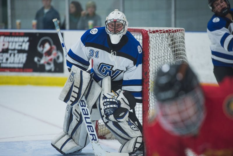 GVL / Luke Holmes - Jared Maddock (31) pays close attention to the play. GVSU Men's D2 Hockey defeated Ferris State University with a score of 8-1 on Saturday, Oct. 16, 2016.
