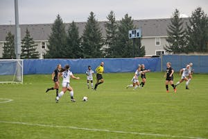 GVSU Girl's Soccer Team facing Purdue Northwest in the GLIAC Tournament on October 30th, 2018.  GVL / Emily Modloff