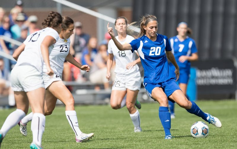 GVL/Kevin Sielaff - Gabriella Mencotti (20) handles the ball and looks to pass. The Lakers defeat the Panthers of Ohio Dominican with a final score of 4-0 on Sunday, Sept. 18, 2016 in Allendale.