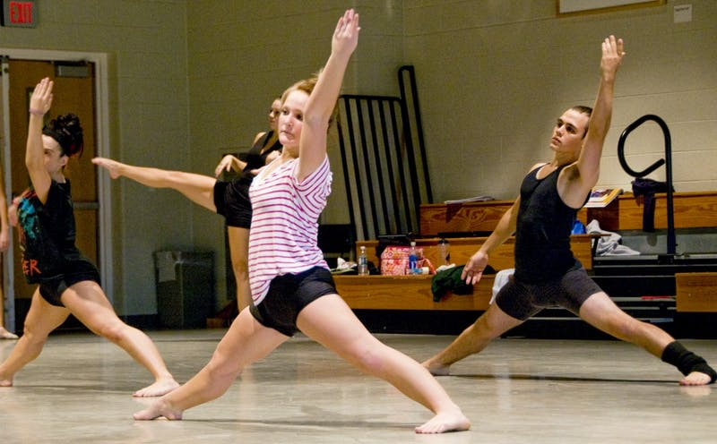 Students in Advanced Modern Dance use class time to ensure a perfect routine