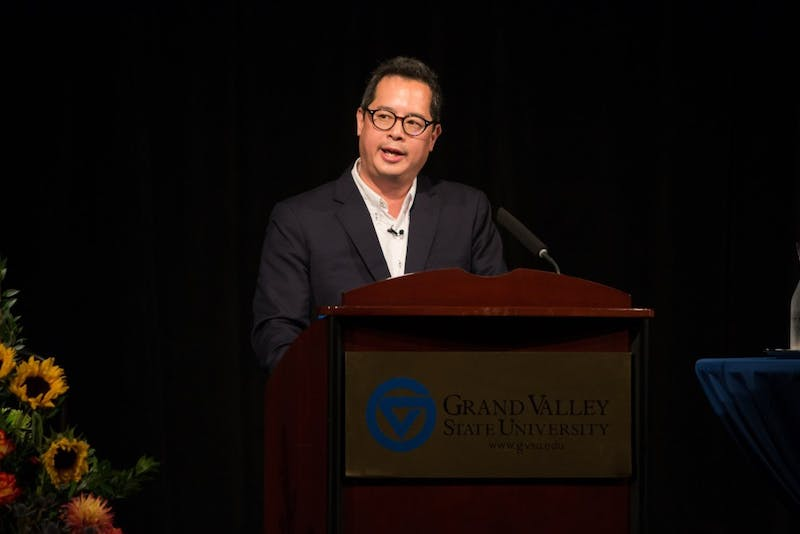 Scarber Author Jeffrey Chang speaks about his book about race in America today October 9, 2017. GVL / Spencer