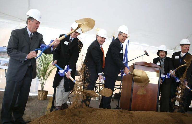 GVL / Robert MathewsPresident T. Haas speaking during the groundbreaking ceremony for the Science Laboratory Building on Allendale campus last Monday.