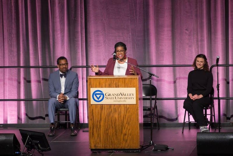 GVL / Dylan McIntyre. Monday, February 15, 2018. April Reign speaking on MLK Day.