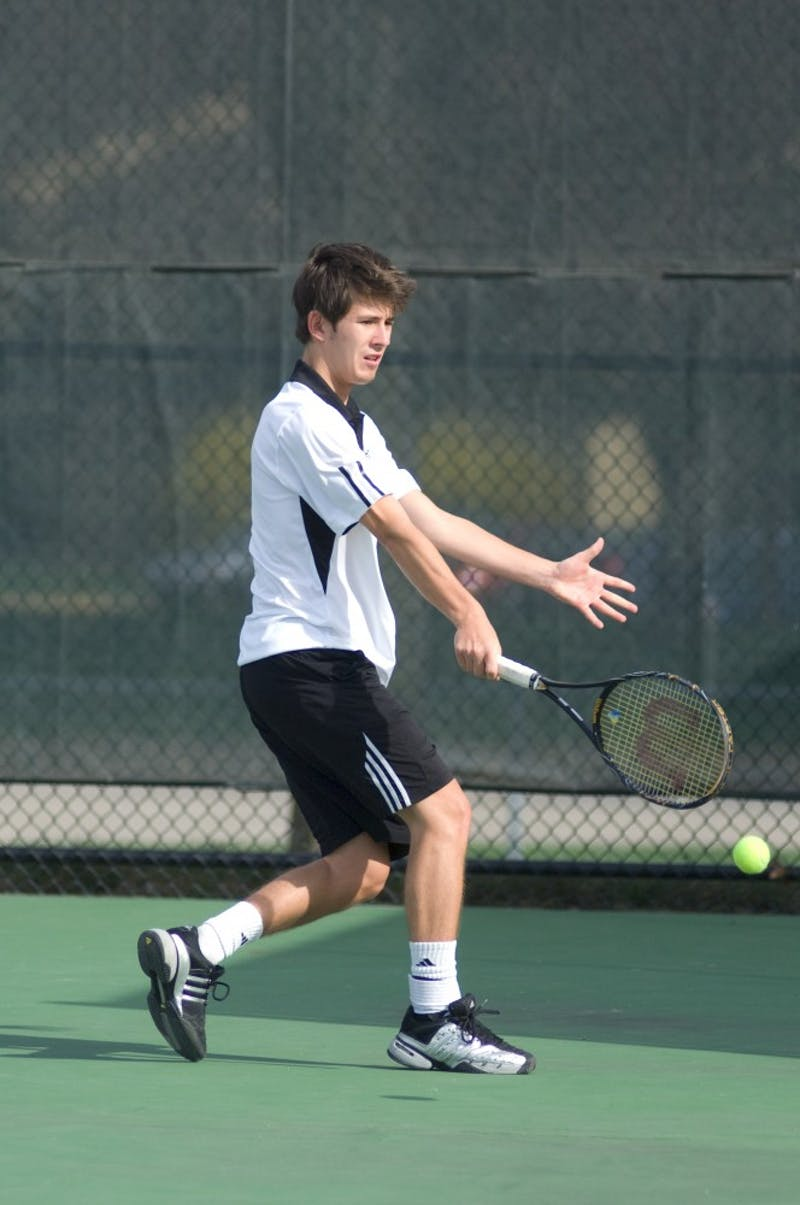 GVL Archive / Andrew MillsSenior Philipp Claus returns a serve. The Laker tennis team had a 6-3 victory over Ohio Dominican this Saturday
