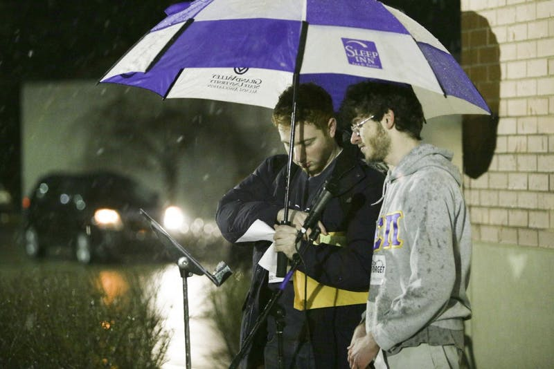 GVL / Andrew NyhofAEPi brothers host a silent walk in remembrance of those who died in the holocaust.