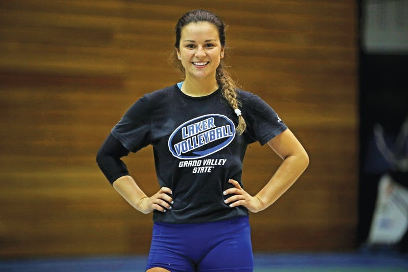 GVL / Emily Frye   Senior Taylor Shomin stops for a photo after practice in the fieldhouse Sep. 16th.