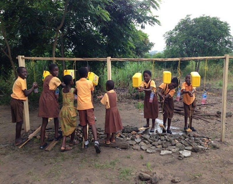 GVL / Courtesy - Dallas RohraffGhanian children using oil barrel 'sinks'