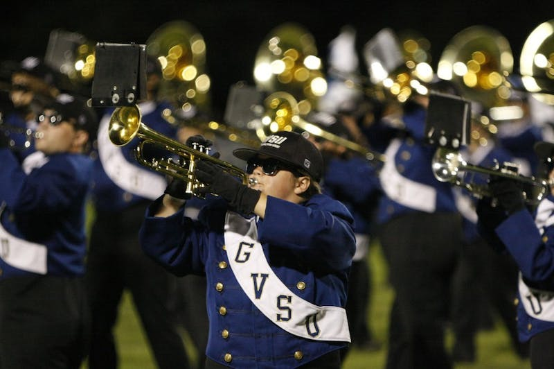 GVL Archive / Eric CoulterThe GVSU Laker Marching Band performs at a football game