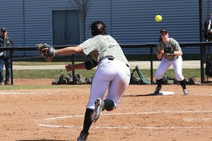GVL / Emily FryeMcKenzie Supernaw makes the play at first base against Tiffon on Apr. 12, 2015.