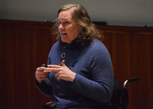 GVL/Hannah Zajac— Dr. Deanna Haunsperger gives a lecture on her lessons learned as a woman mathematician in Henry Hall on Tuesday 27 Feb 2017.