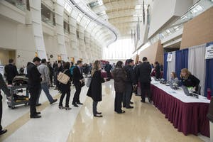 GVL / Luke Holmes - Students line up for registration. The career fair was held in the Devos Place Thursday, Feb. 26, 2016.