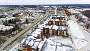 GVL/Kevin Sielaff - Grand Valley's South Apartments as seen from above on Sunday, Nov. 20, 2016.