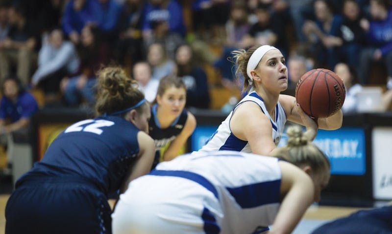 GVL / Kevin Sielaff - Taylor Parmley (14) takes a free throw. The Lakers down the Timberwolves of Northwood University in Allendale with a final score of 71-47 Jan. 24, 2016.