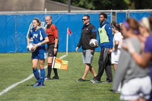 GVL/Kevin Sielaff - Head coach Jeff Hosler directs his team. Grand Valley's women's soccer team defeats #4 ranked Minnesota State by a score on Sunday, Sept. 13, 2015.
