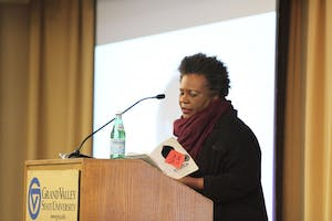 GVL / Kasey Garvelink - Claudia Rankine presented parts of her book at the community read event on Apr. 7, 2016 in Allendale.