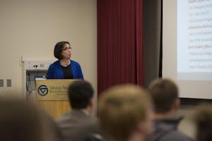 GVL / Luke Holmes - Eileen Sullivan gives her presentation in the Kirkhof Center Tuesday, April 26, 2016.