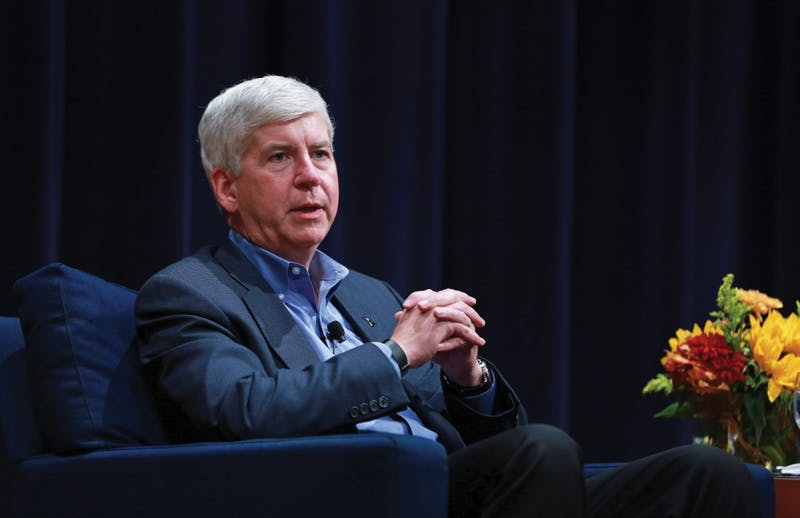 GVL / Kevin Sielaff - Michigan Gov. Rick Snyder visits Grand Rapids Oct. 7 for the 2015 State University Summit. Gov. Snyder was greeted by officials working within higher education institutions from across Michigan.