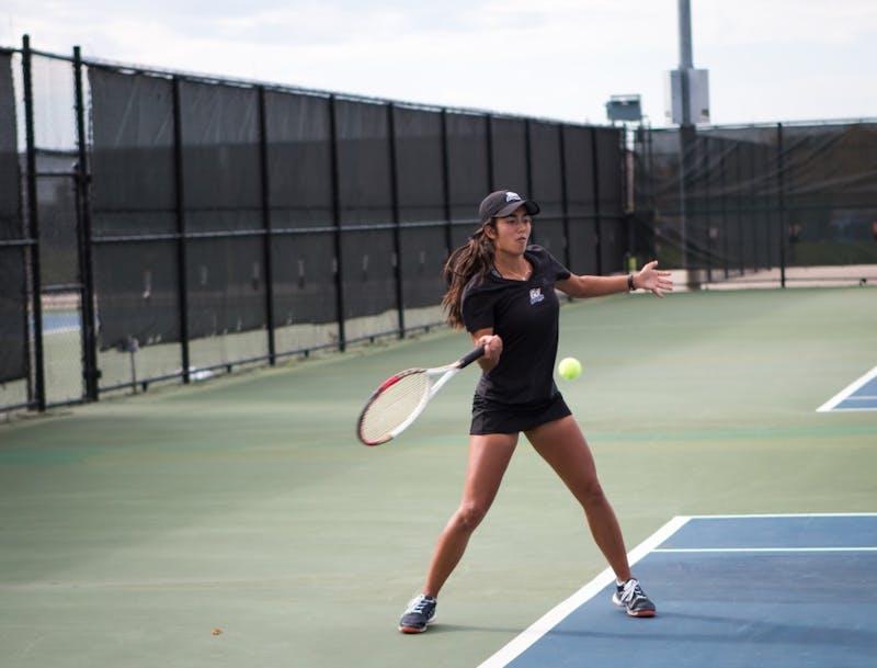GVSU Womens Tennis team against Saginaw Valley State University on October 21, 2017. GVL / Archive