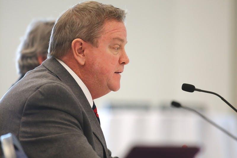 Archive / Robert MathewsTim Wood speaking during a previous Board of Trustees meeting