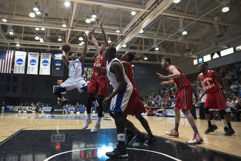 GVL/ Luke Holmes - Aaron Hayes (1) jumps up for the shot. Grand Valley defeated Ferris State 78-69 in the Fieldhouse Arena Thursday, Feb. 25, 2016.