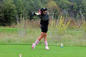 GVL / Emily Frye     Senior Gabrielle Shipley tee's off on Sep. 27th.