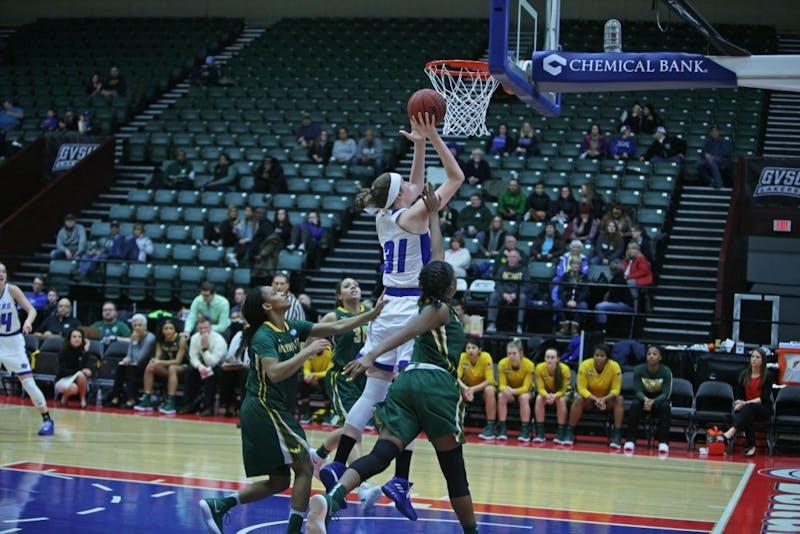 GVL / Emily Frye Basketball vs Wayne State University at the DeltaPlex Arena on Thursday February 8, 2018.