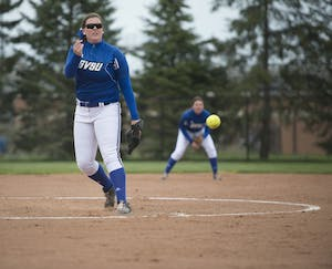 GVL / Luke Holmes - Allison Lipovsky (18) throws the pitch. Grand Valley Women's Softball won 9-5 in their first game against Lake Superior State on Monday, April 18, 2016.