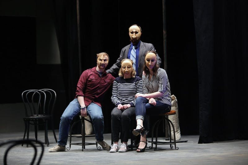 """GVL / Emily Frye Justin Mackey, Seth Burton, Amy Gascon, and Charlie Wilburn, from the upcoming play """"Six Characters Theater Performance"""", take a moment for a photo on Thursday Mar. 24, 2016."""