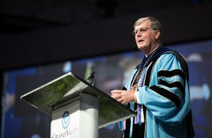 GVL/Kevin Sielaff - GVSU President Thomas Haas speaks at Grand Valley's annual Convocation ceremonies on Friday, August 26, 2016.