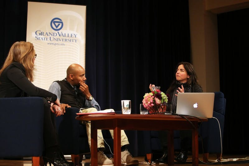 GVL / Emily Frye(From left to right) Jill Casid, Paul Miller (aka DJ Spooky), and Nayda Collazo-Llorens discusses the topic of sampling on Wednesday April 6, 2016.