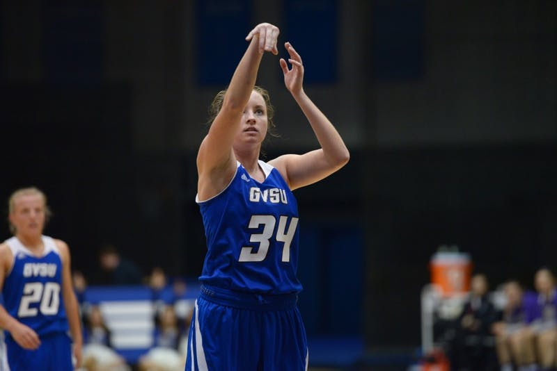 GVL / Luke Holmes - Bailey Cairnduff (34) shoots the free throw. GVSU Women's Basketball lost to Truman State 69-74 on Sunday, Nov. 13, 2016.