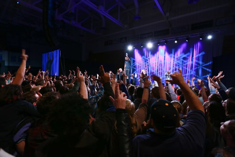 GVL / Kevin Sielaff - Grand Valley hosts SNL comedians Aidy Bryant and Jay Pharoah inside the Fieldhouse Arena Oct. 22.