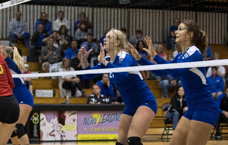GVL/Kevin Sielaff - Staci Brower (21) gets ready to block. The Lakers fall to the Bulldogs of Ferris State with a final score of 1-3 Tuesday, Sept. 27, 2016 in Allendale.