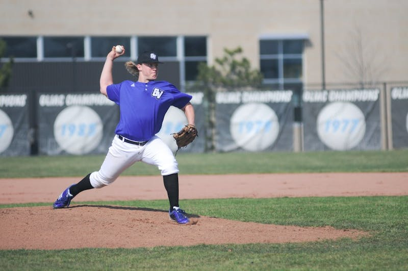Grand Valley pitcher Kyle Schepel throws a pitch during the second game of Saturday's double header at home in Allendale. The Laker's split the pair of games with Saginaw Valley.