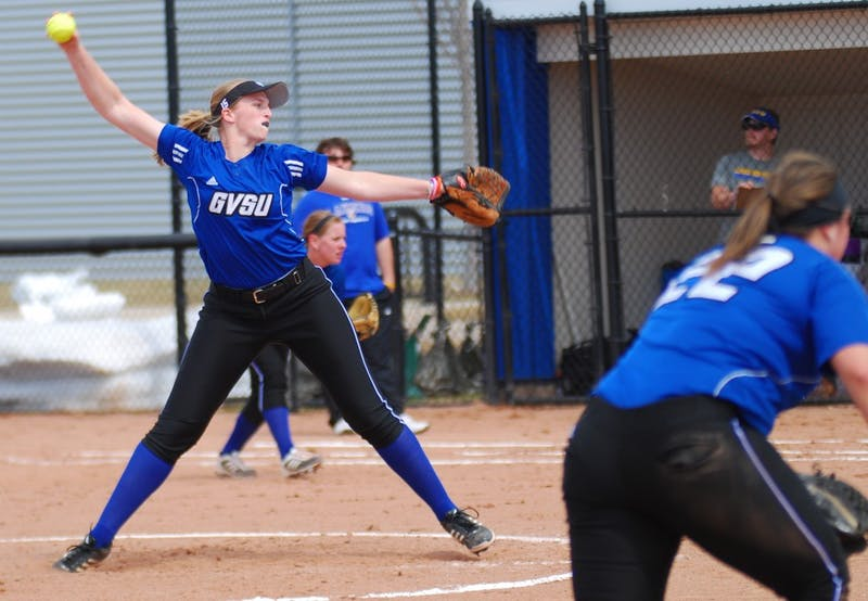 GVL / Hannah MicoSophomore Sara Andrasik pitched the entire game against Lake Superior State on Wednesday.