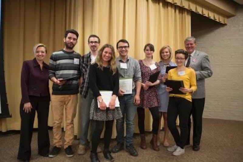 GVL / Courtesy - GVSU.edu2016 Sustainability Champions Award winners: Sam Bender, Anna Hill, Francis Merring, Suraya Shosten, Brittany Sincox, McKenna Smith, Hannah Swanson, Austin VanDyke, Jess Weal, Alex Wierenga.