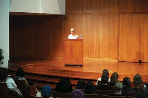 """GVL / Emily FryeAuthor Marcia Aldrich reads her award winning essay """"Enough"""" during the writer's series on Oct. 1st."""