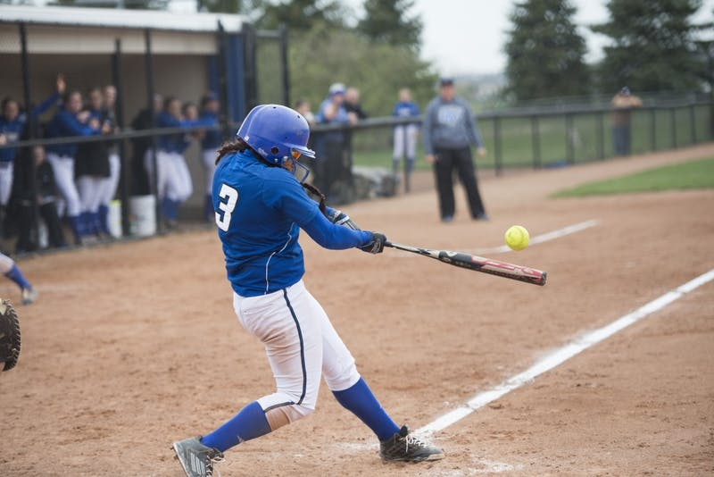 GVL / Luke Holmes - McKenze Supernaw (3) makes contact with the ball. Grand Valley Women's Softball won 9-5 in their first game against Lake Superior State.