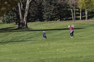 GVL / Sara CarteGrand Valley Girl's Golf player, Samantha Moss, swings on the ninth hole during the Davenport Invitational at Blythefield Country Club on Oct. 26.