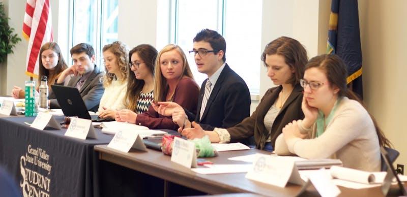 GVL / Kasey Garvelink - Vice Presdient Jordan Simmonds speaks to the members of student senate at the meeting on Feb. 25, 2016 in Allendale.