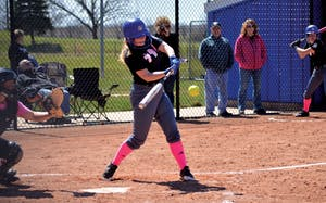 GVL/Hannah Zajac - Brooke Little (17) takes a swing during the game on Saturday, April 8, 2017.