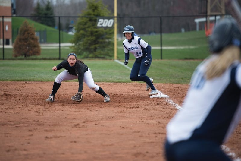 GVL / Luke Holmes - McKenze Supernaw (3) gets ready to make the play at first base. Grand Valley State University defeated Northwood University in both games at the Grand Valley softball field Thursday, Apr. 7, 2016.