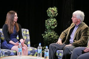 GVL / Emily Frye  Marisa Kwiatkowski talks about the role she played in breaking the Larry Nassar sexual abuse scandal on Monday, March 26, 2018.
