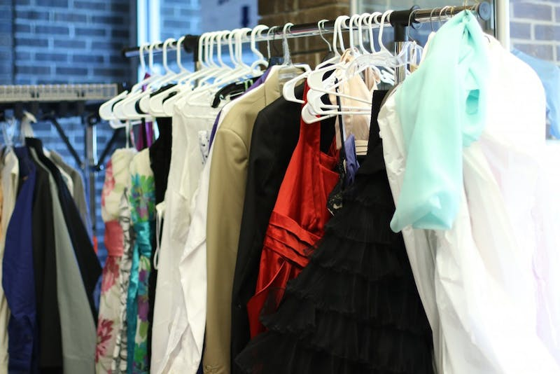 GVL / Kasey Garvelink - Multiple pieces of clothing were brought for the Greek Closet event on Apr. 12, 2016 in Allendale.